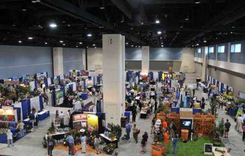 A view of the exhibit hall at the Garden Writer's Convention.